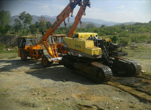 ACE Mobile Cranes Doing Recovery of Excavator