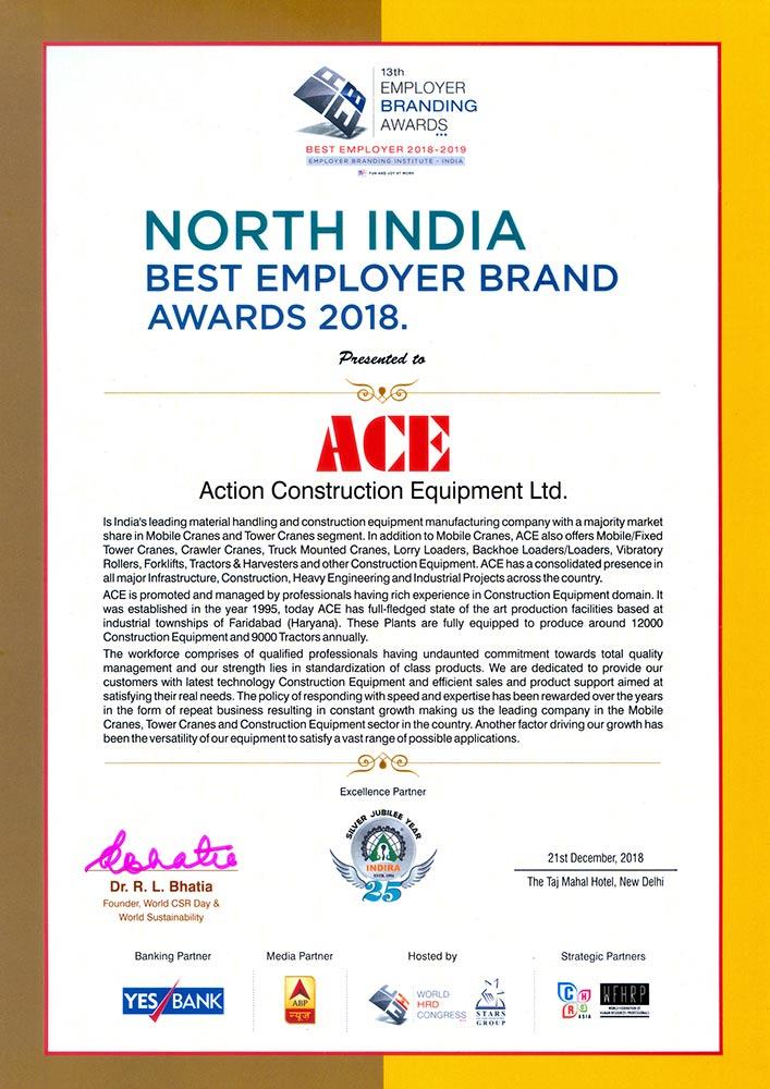 North India Best Employer Brand Award – 13th Employer Branding Awards 2018