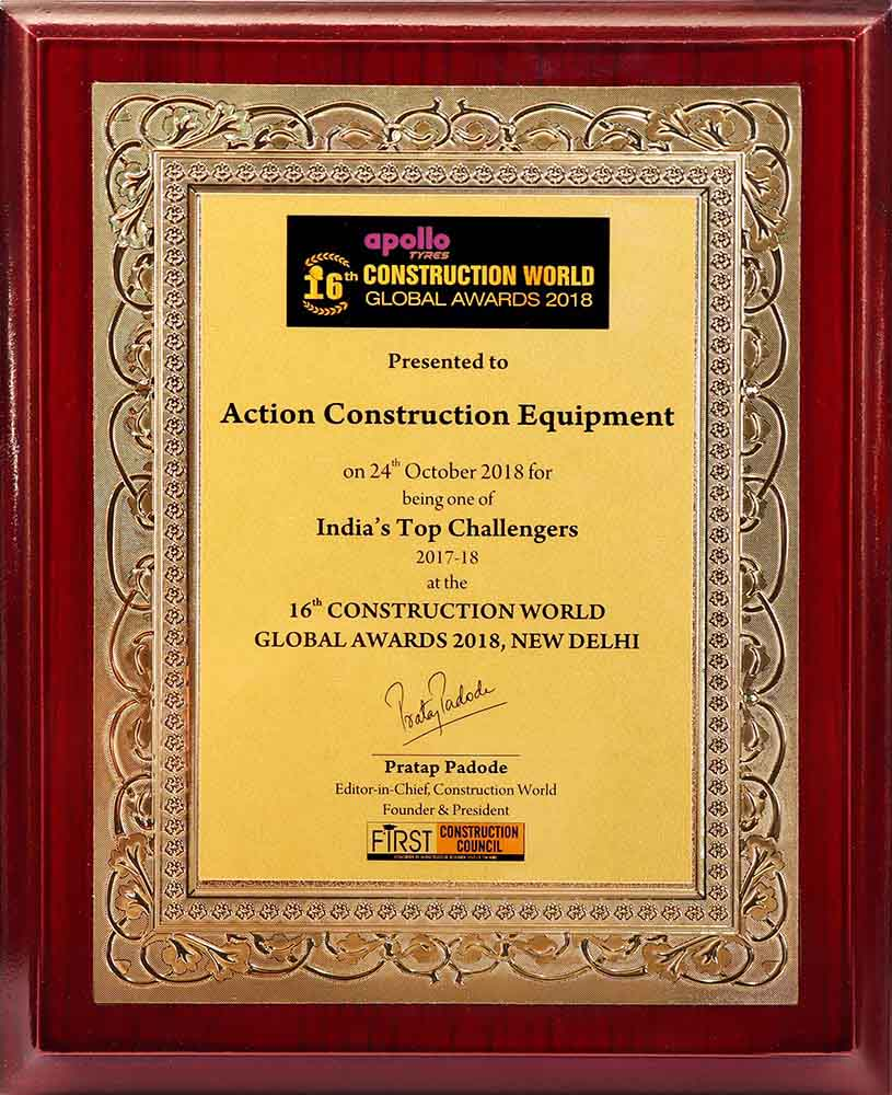 India's Top Challengers Award - 16th Construction World Global Awards-2018