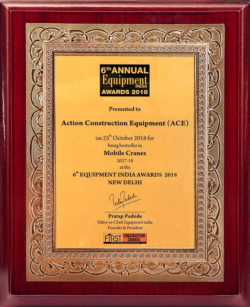 Best Seller in Mobile Cranes Category Award - 6th Equipment India-2018