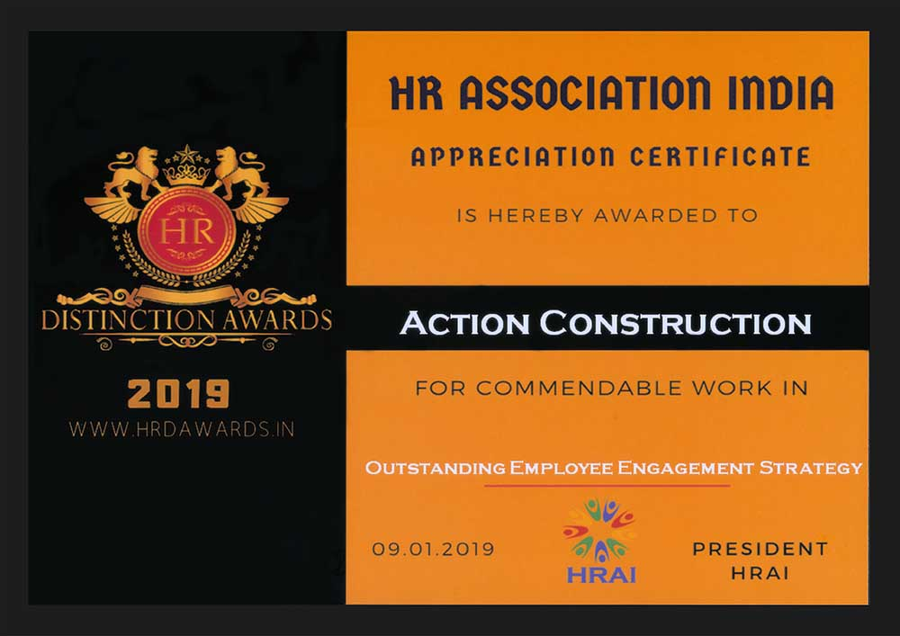 Appreciation Certificate for Commendable Work in Employee Engagement Strategy-HR Association of India, 9th January, 2019