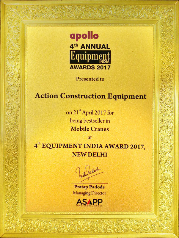 Best Seller in Mobile Cranes Category Award-4th Equipment India-2017