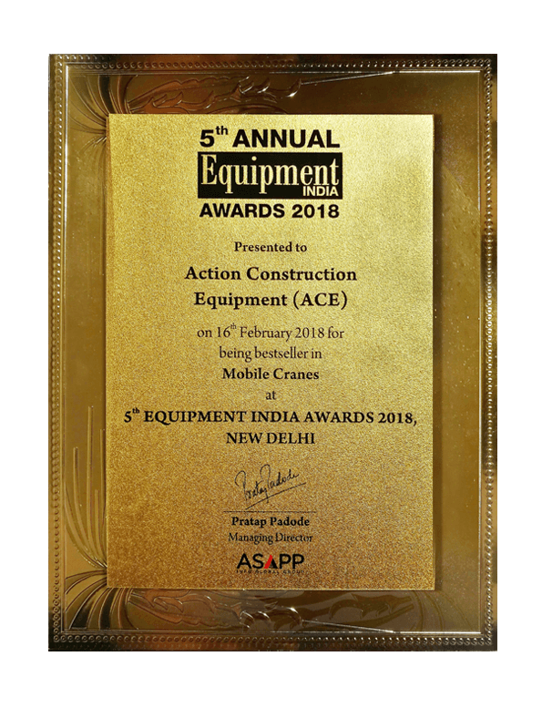 Best Seller in Mobile Cranes Category Award-5th Equipment India-2018